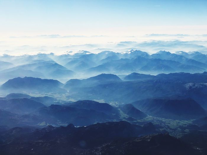 Alps from above Beauty In Nature Scenics - Nature Sky Tranquil Scene Tranquility Landscape Environment Mountain Mountain Range Cloud - Sky Nature Idyllic Majestic Blue Mountain Peak Fog First Eyeem Photo
