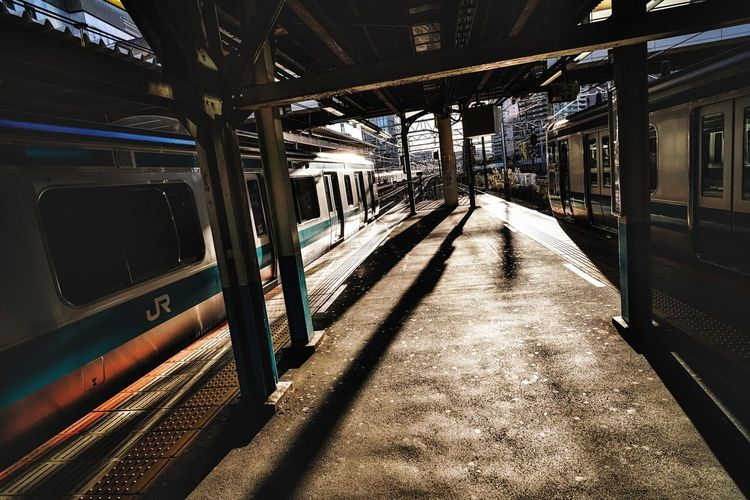 Sunlight Transportation Architecture Direction The Way Forward Shadow Indoors  Built Structure No People Rail Transportation Diminishing Perspective Mode Of Transportation Public Transportation Train Train - Vehicle