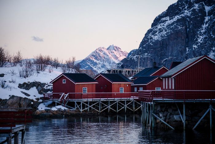 Fishermen's dream. Norway Architecture Building Exterior Built Structure Water Building House Sky Residential District Nature Winter Snow Day No People Mountain Waterfront Lake Clear Sky Cold Temperature Outdoors Row House