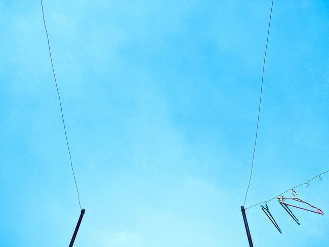 Clothesline Sky Sky_collection Blue Sky Sky Blue Clear Sky Clear Weather No Cloud In The Sky Peace Peaceful View Peace And Quiet Serene Peace Eyeem Philippines Home Is Where The Art Is Color Palette