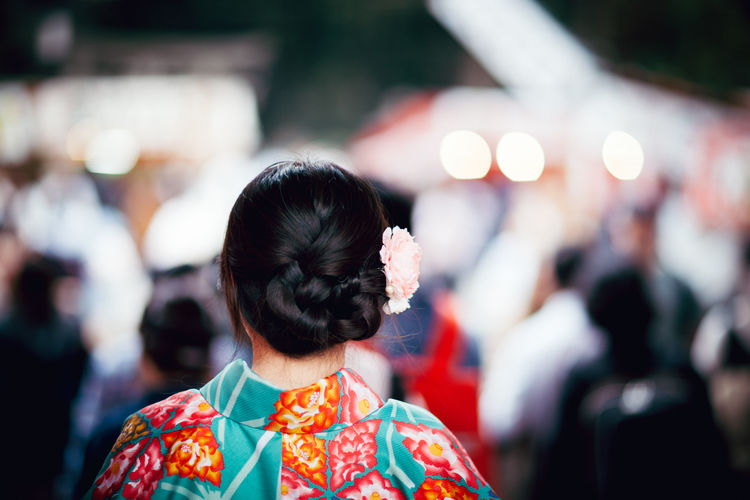 Rear view of woman in traditional clothing