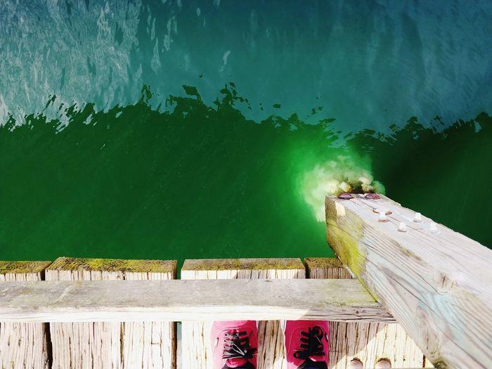 looking down LG V30 Tacoma_WA España🇪🇸 Españoles Y Sus Fotos Outdoor Photography Waterfront Green Color Vans Off The Wall Lake Wood - Material Pier Underneath