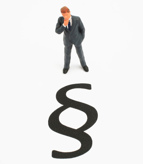businessworld, man standing infront of law sign Contract Copy Space Creativity Full Length Imagination Law Lawyer Paragraph Studio Shot Thinking White Background