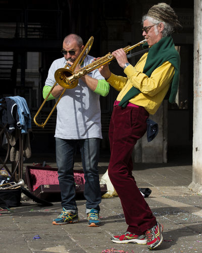 Colours Interplay Carnival Of Venice Italy Men Music Musical Instrument Musician Outdoors Performance Strumenti A Fiato Togetherness Two People Veneto