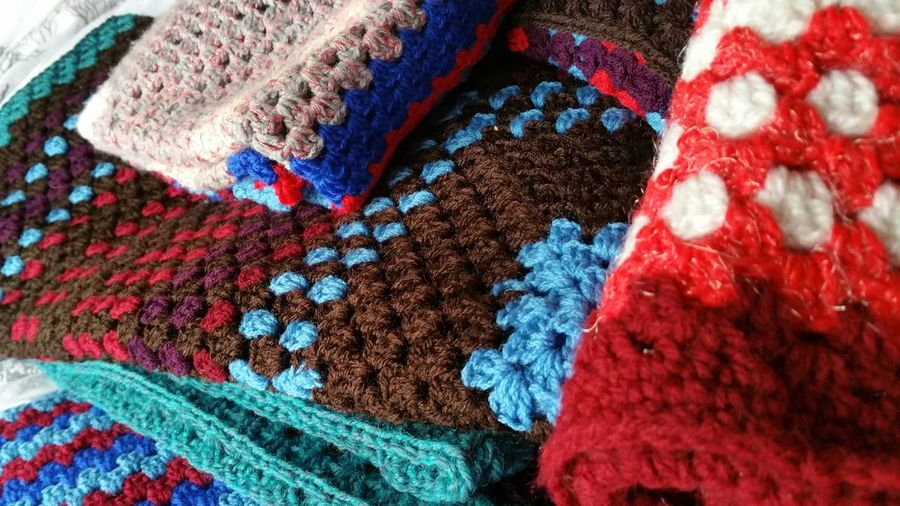 Full Frame Shot Of Multi Colored Crochets At Market Stall
