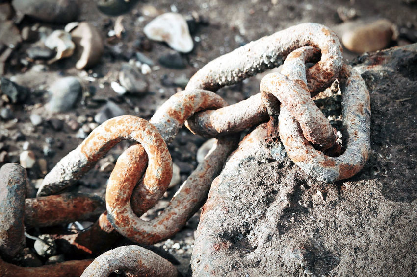 Old rusty chain. Abandoned Chain Close-up Connection Damaged Day Decline Deterioration Focus On Foreground Iron Metal Nature No People Obsolete Old Outdoors Run-down Rusty Strength Tangled Textured  Weathered