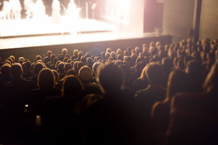Rear view of audience at concert