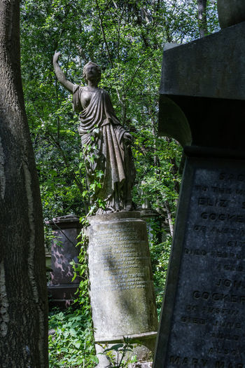 Statue of cemetery against trees