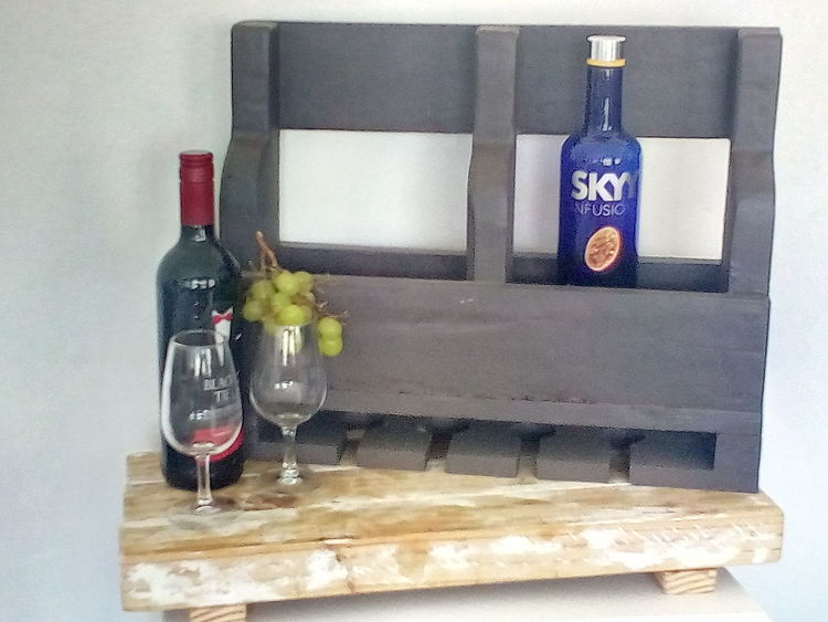 Home Made Solid Wood Wine Rack That Holds Four Wine Glasses At The Bottom Grapes 🍇 Solid Wood, Home Made Board And Wine Rack Indoors  Close-up Day