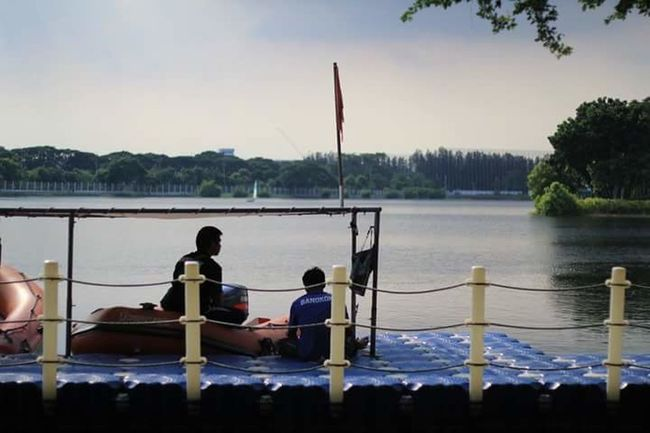 Water Lake Fishing Nautical Vessel Two People Fisherman Sky Sitting Rear View Outdoors Men Pedal Boat Sailboat Nature People Adult Wife Togetherness Day Sailing