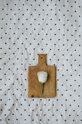Directly above shot of eustoma flower on small cutting board and polka dots background
