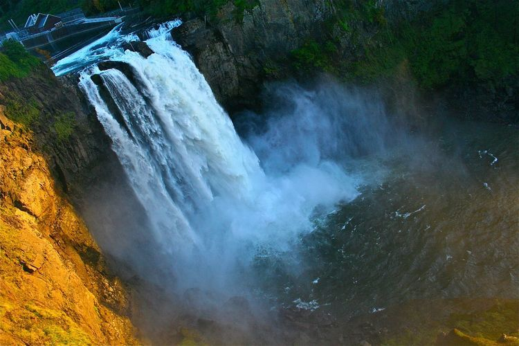 Perspectives On Nature Waterfall Nature Water Landscape Outdoors No People Beauty In Nature Scenics Mountain Day Tilting Action Outlook High Viewpoint State Park  Green Blue Gold Shadows