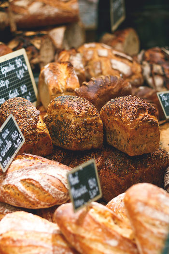 Close-up of breads for sale in market