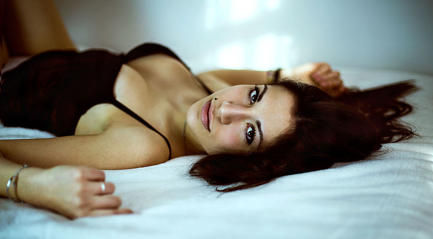 Light Beautiful Woman Beauty Bed Bedroom Black Close-up Day Eyes Fashion Model Girl Glamour Home Interior Indoors  Light And Shadow Lingerie Looking At Camera One Person People Portrait Real People Relaxation Woman Portrait Young Adult Young Women