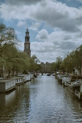 Architecture Cloud - Sky Built Structure Sky Tree Water Building Exterior Day Outdoors Travel Destinations No People Nature Nautical Vessel Amsterdam 020 Amsterdam Canal Canal Westertoren Tourism Tourist Attraction