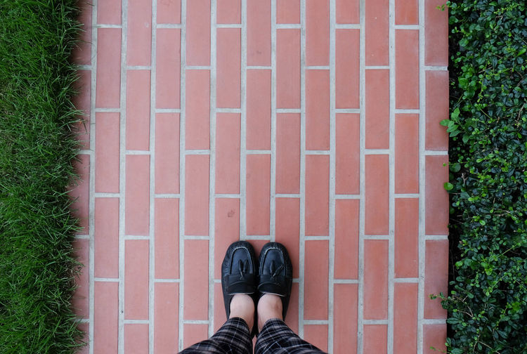 Backgrounds Body Part Brickpath Brickpathways Brickpattern Brickpavers Day Directly Above Garden High Angle View Human Foot Human Leg Leisure Activity Lifestyles One Person Outdoors Personal Perspective Real People Shoe Standing Low Section Human Body Part Standing Unrecognizable Person Footpath Shoe