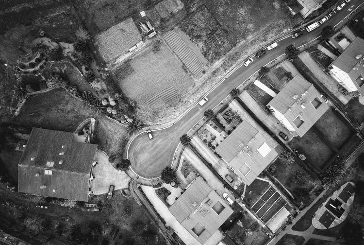 Aerial view of buildings and road in city
