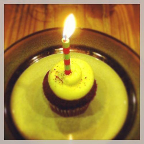 Birthday cupcake. Birthday Cupcake Sweet16 Redvelvetcupcakes 16 icing redsprinkles candle