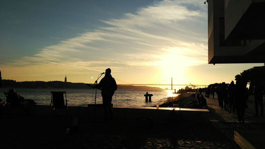 Lisboa Music Sunset Bridge Architectural Detail Riverbank Riverscape