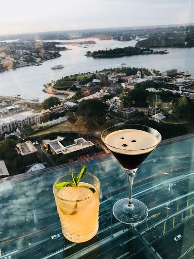 Cocktails with a view After Work Street Harbour Date Date Night Sydney Landscape Espresso Martini Bar Urban City Water Refreshment Food And Drink Freshness No People Martini Glass Glass - Material Cocktail High Angle View Day Sea Close-up Drinking Glass Food