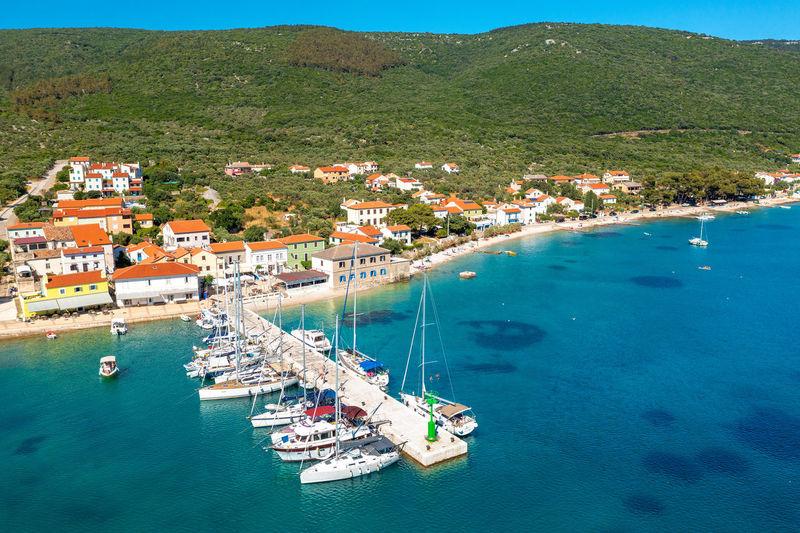 Aerial view of martinscica, a town in cres island, the adriatic sea in croatia