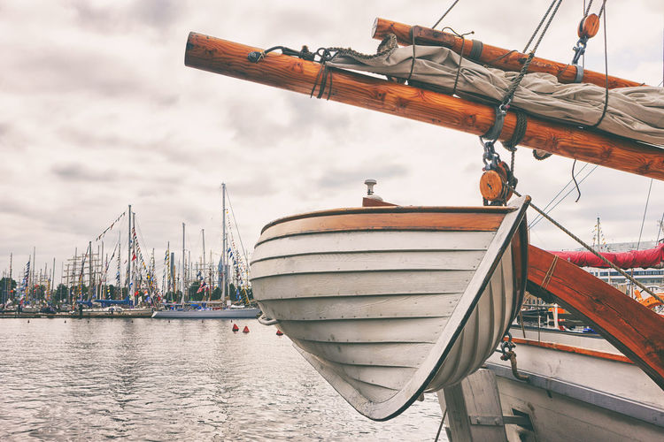 A wooden boat aboard a sailing ship in the port of Riga during the regatta Trip Boat First Eyeem Photo