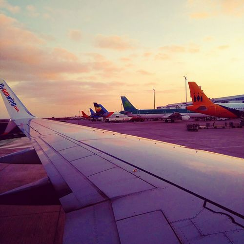 Airport Parking. Airplane No PeopleCloud - Sky Sunset Airport Runway Aeroplane Wingspan Outdoors Travel Photography Travelling Day Sky Aerospace Industry My Year My View