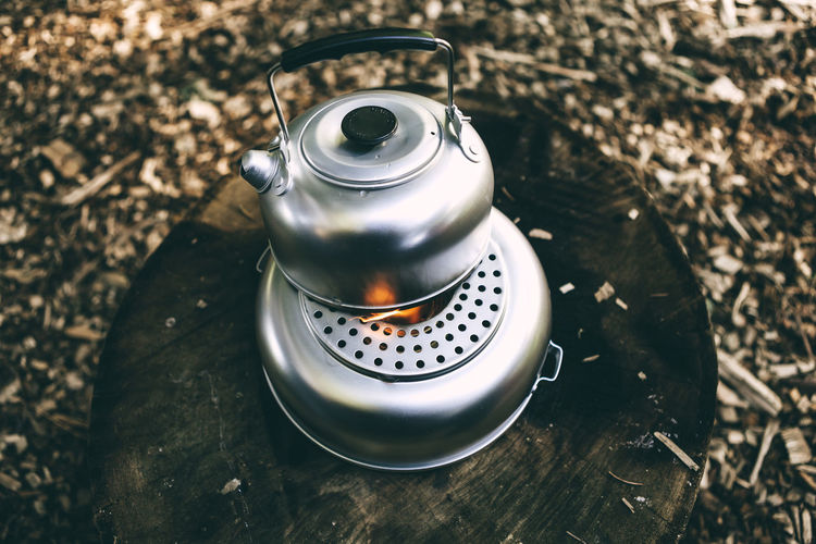 Kettle with water heated on the fire Boiling Boiling Water Close-up Day Kettle No People Outdoors Tea - Hot Drink Fresh On Market 2017