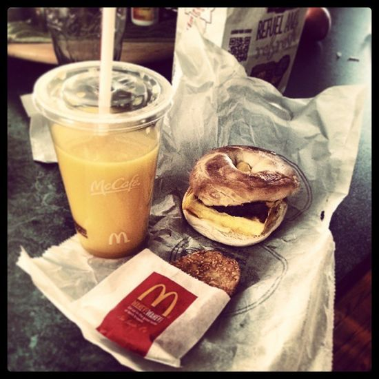Trying the new steak breakfast from McDonald's Mcdonalds Steakbreakfast Breakfast Breakfastsandwich Morning OJ  Orangejuice Minutemaid @mcdonalds @minutemaid