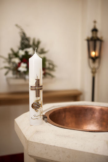Close-Up Of Candle In Church