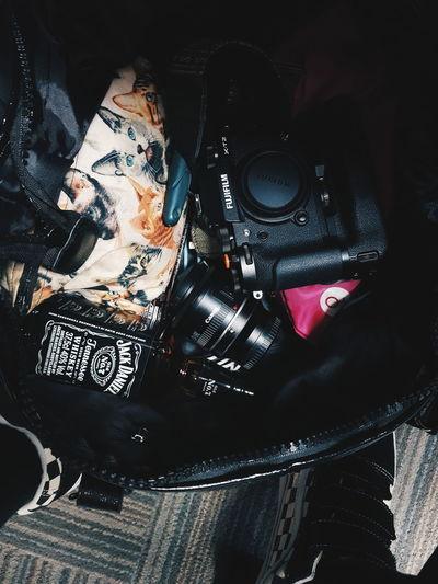High angle view of digital camera