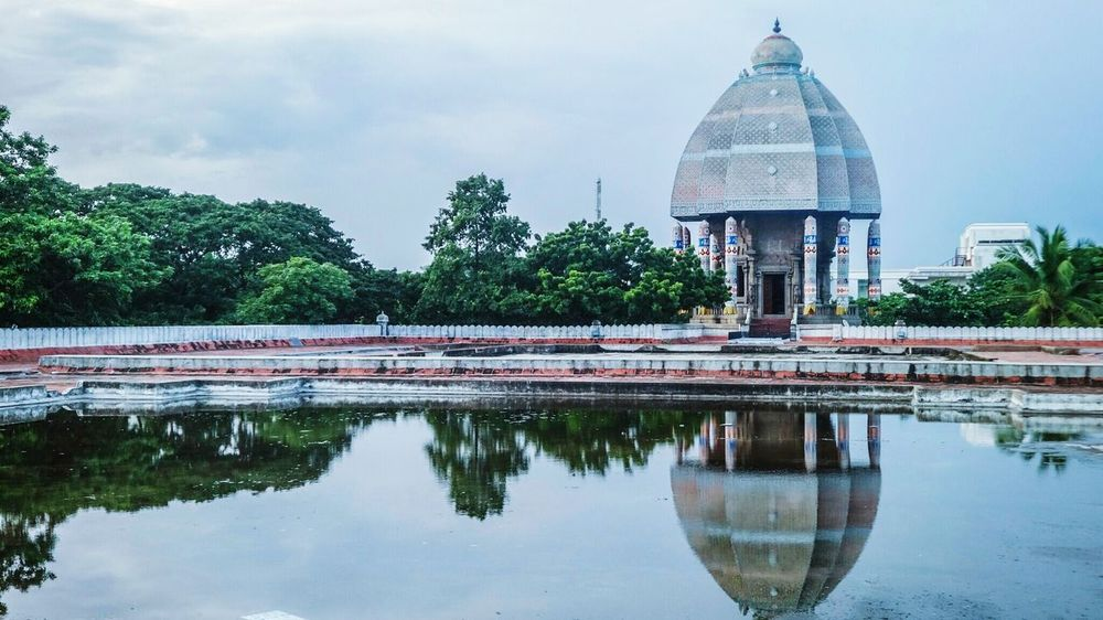 A great view .. Landscape Valluvar Kottam Chennai Tamilnadu Ancient Architecture Monuments Water Water Reflections Composition Nature_collection Trees Tadaa Community From My Point Of View Clouds And Sky Historical Architecture Artistic Ancient Civilization Indian Style Traditional History Sky Hello World Rooftop Tradition