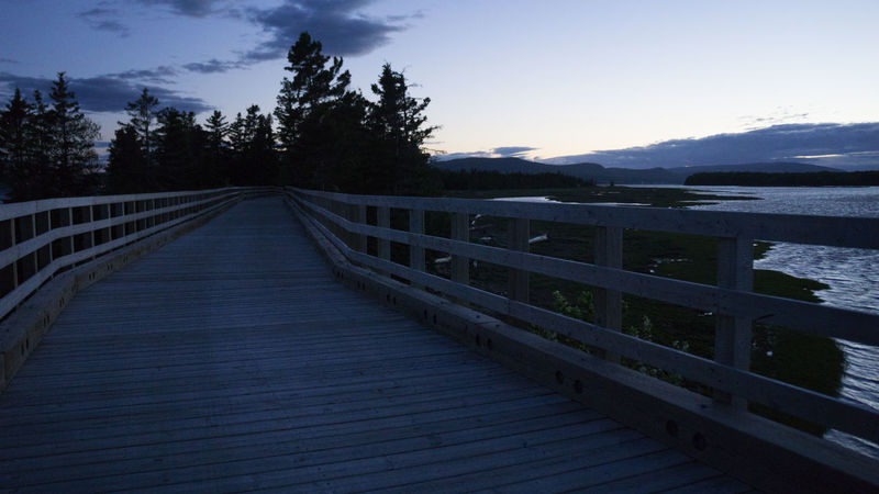 Beauty In Nature Footbridge Forillon National Park Gaspesie Lake Landscape Mountain Nature No People Outdoors Scenics Sky Sunset The Way Forward Tranquil Scene Tranquility Tree