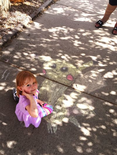 Taking a break from Pokemon capturing Pokemon Hunting Chalk Art Pikachu Pikachu ❤ Neice Summer