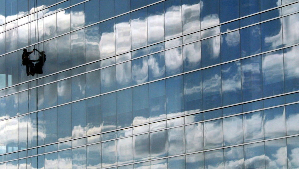 Just another day at the office. Architecture Building Exterior Built Structure City Cleaner Cleaning Cloud - Sky Clouds Day Glass - Material Hanging Low Angle View Men Modern Occupation Outdoors People Real People Reflection Ropes Sky Skyscraper White Window Window Washer