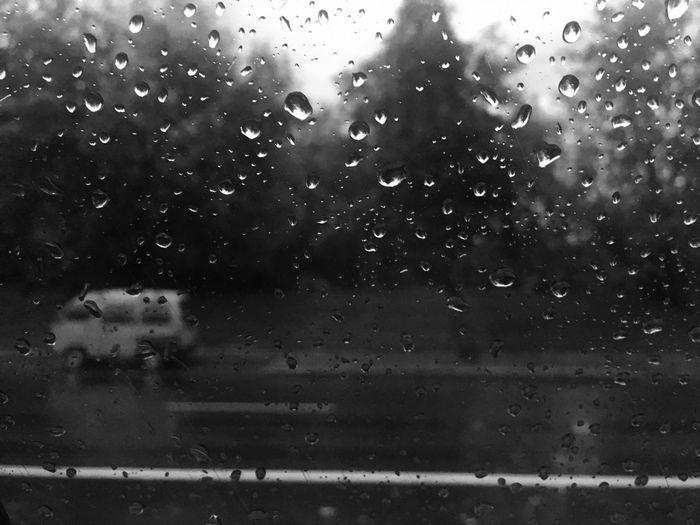 Close-up of raindrops on window