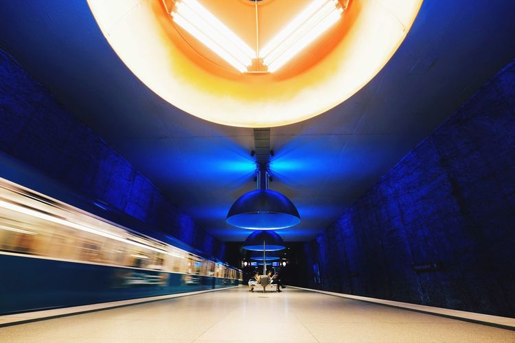 Illuminated Indoors  Ceiling Transportation Architecture Real People The Way Forward Built Structure Day Futuristic Railroad Station Subway Station City Blurred Motion Electricity
