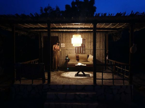 Cabin Candle Soft Lamp Nightlife Night Treehouse Hut Cabin Architecture Built Structure Illuminated Seat Night Sitting Plant Outdoors Building Tree Lighting Equipment Sky Nature Light Chair Real People