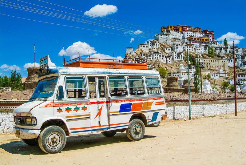 Thikse gompa or thikse monastery Bus Historical Building India Leh Leh Ladakh.. Mountain Thiksey Travel Travel Destinations
