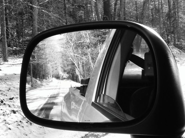 Car Transportation Tree Reflection Side-view Mirror Mode Of Transport Vehicle Interior Land Vehicle Snow Dirt Road NewEnglandWinter Close-up Nature Sky No People Day Outdoors Vehicle Mirror Quietcorner Forest Winter Thelastgreenvalley Connecticut