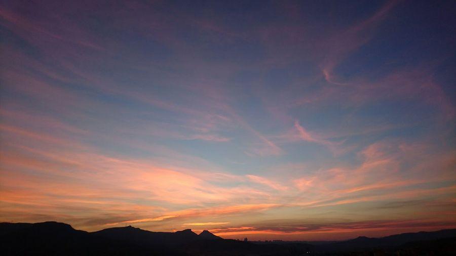 Sunset Sky Clouds Landscape Haced Atmospheric Mood Pink Blue Sky