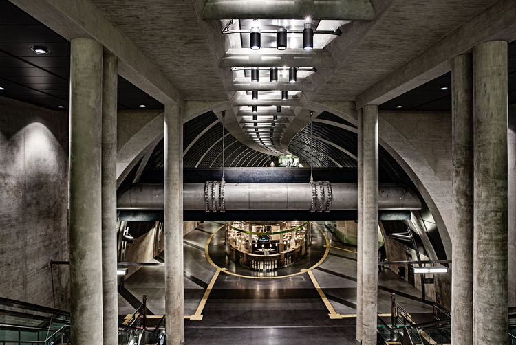 Köln U-Bahn Heumarkt Architectural Column Architecture Bridge Bridge - Man Made Structure Building Built Structure Ceiling Connection Day Factory Illuminated Indoors  Industry Metal No People Pipe - Tube Pipeline Transportation Underneath