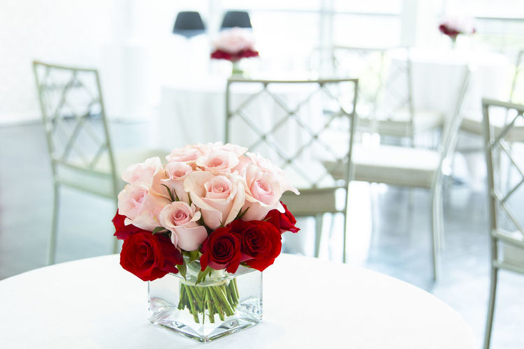 Bouquet of Red and Pink roses in glass bank jar. Flower Flowering Plant Table Rosé Rose - Flower Plant Beauty In Nature Freshness Seat Chair Vase Nature Fragility Focus On Foreground Arrangement Vulnerability  Indoors  Flower Head No People Close-up Flower Arrangement Bouquet Glass Setting Coffee Table Jar Glass Jar