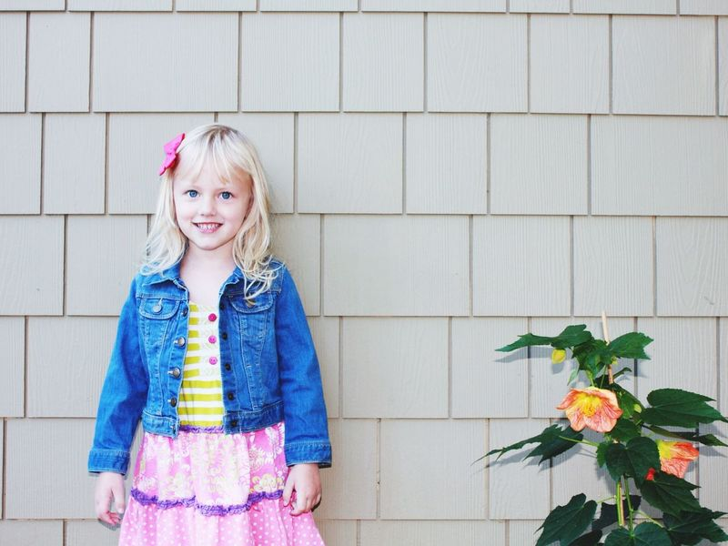 Girl California United States Jean Jacket Smile Flowers Portrait Blonde Girl Say Cheese Bow Smile Scotts Valley