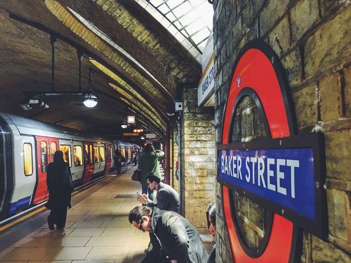 Baker Street Sherlockholmes Sherlock Bakerstreet Londonunderground London Tube Communication Transportation Public Transportation Text Real People Men Lifestyles Train - Vehicle Railroad Station Architecture People