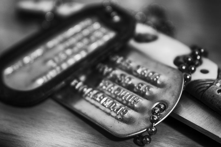 Dog Tag Photographed, retouched: Adam Cs. Szegvari http://aszegvari.com http://facebook.com/szegvari.photography Abundance Backgrounds Close-up Collection Communication Control Detail Dogtags Focus On Foreground Full Frame Indoors  Knitting Large Group Of Objects Metal Music Old-fashioned Part Of Selective Focus Single Object Still Life