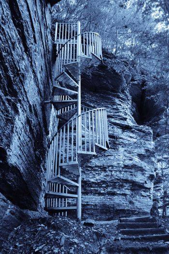 Spiral on a Cliff Greeter Falls Altamont Tennessee Spiral Staircases Architecture Built Structure No People Day Outdoors Staircase Nature