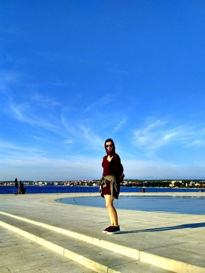 My beautiful friend in Zadar. Young Adult Happiness Casual Clothing Lifestyles Looking At Camera Person Blue Sky City Life Cloud - Sky Summer Sea Organ Weekend Activities Day Smiling Fun Beautiful Girl Leisure Activity Lifestyles Full Length Casual Clothing Blue Sky Happiness First Eyeem Photo