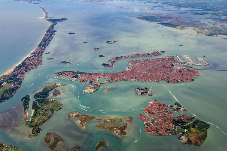 Bird's eye view of Venice Venice, Italy Aerial View Beach Beauty In Nature City Coastline Day Flying High Angle View Island Italy Land Nature No People Outdoors Scenics - Nature Sea Tranquility Travel Venice Water Waterfront