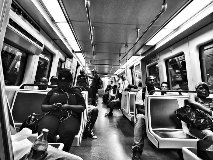 Blackandwhite Commuting Subway